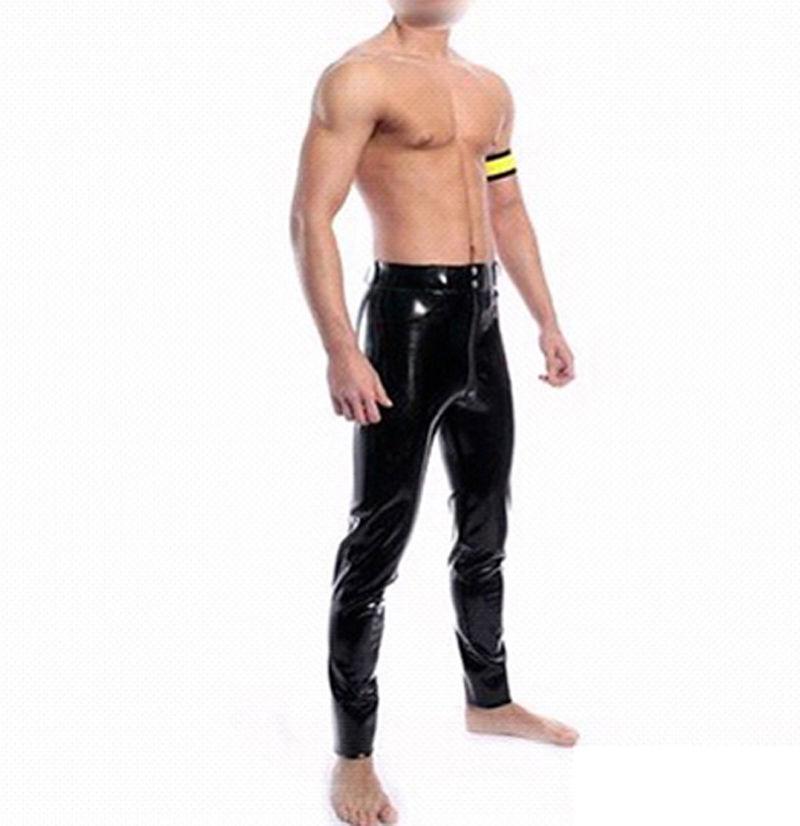Latex homme pantalon avec fermeture éclair avant Gummi 0.4mm avec poches personnaliser grande taille