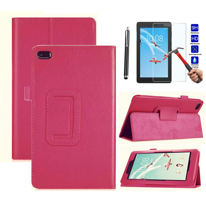 Tablet Case For <font><b>Lenovo</b></font> Tab E8 / Tab 8 <font><b>TB</b></font>-8304F <font><b>TB</b></font>-<font><b>8304F1</b></font> 8.0 Smart Thin Leather Folding Flip Case Stand Cover+Tempered Glass+Pen image