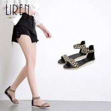 Liren 2019 Summer New Fashion Women Sandals Open Toe Flat Heel Female Fairy Cane Shoes Size 35-40 Ladies Rome