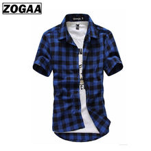 Red And Black Plaid Shirt Men Shirts 2019 New Summer Fashion Chemise Homme Mens Checkered Short Sleeve Blouse