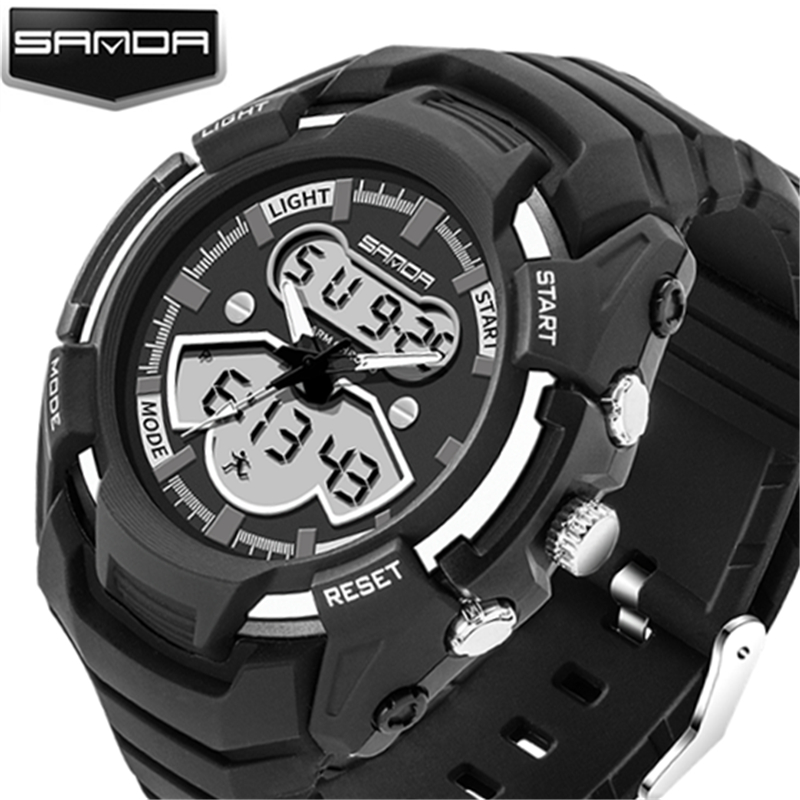 100% Original Sanda Sport Dual Time Led Digital Analog Military 3atm Armbanduhr Armbanduhren Für Männer Männlich Junge Schwarz 711 Neueste Technik