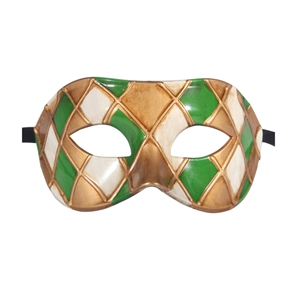 Горячая Арлекин Маскарад Танцевальная вечеринка маска уникальная мужская Венецианская проверенная маска - Цвет: green gold