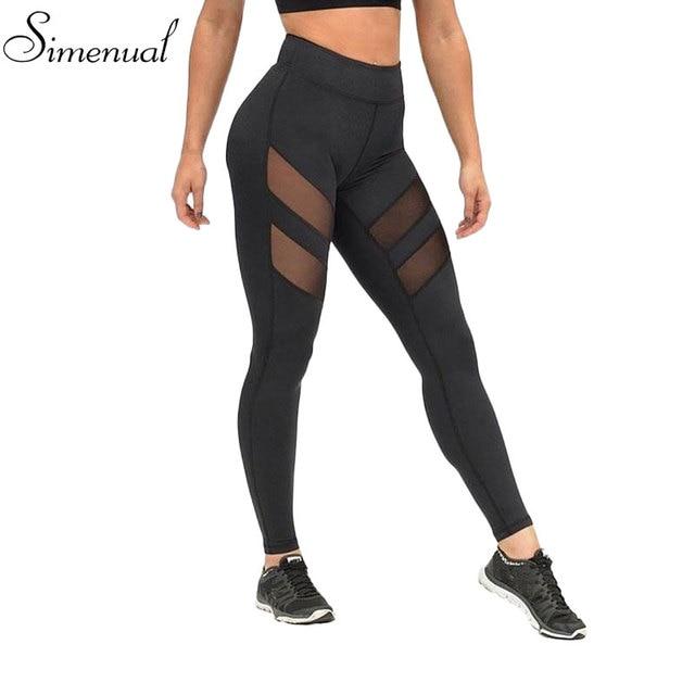 Athleisure harajuku leggings for women mesh splice fitness slim black legging pants plus size sportswear clothes 2017 leggins