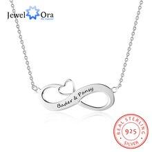 Infinito amor joyería con corazón personalizado nombre collar 925 plata esterlina Collares y colgantes (jewelora ne102395)