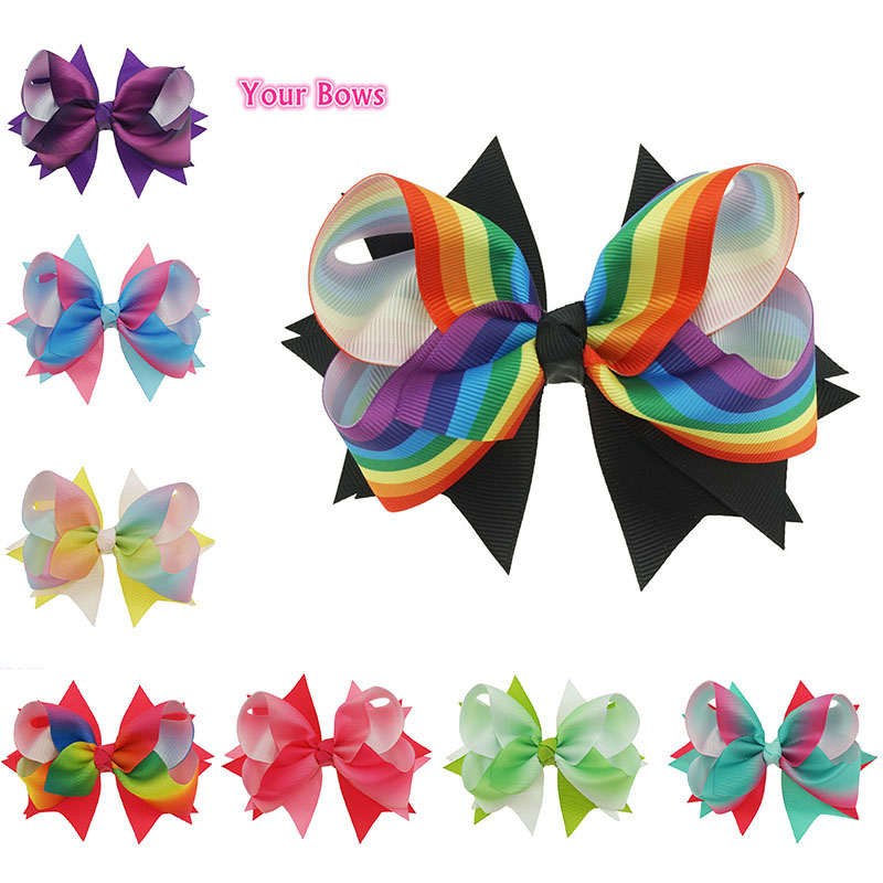 bows 5inch rainbow hair