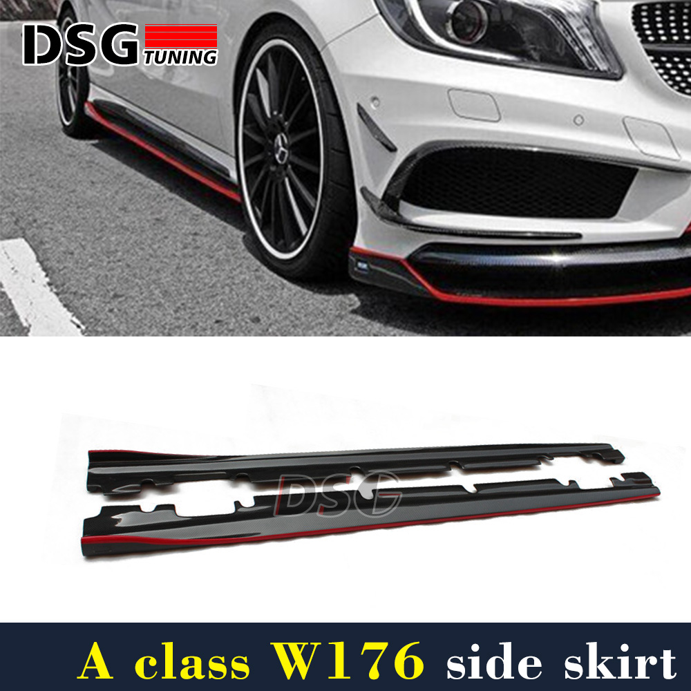 цена на Mercedes W176 Carbon Fiber Side Skirt With Red Line For Benz A Class A45 Package 2012 - 2017