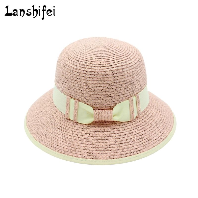 Summer Straw Hat Big Brim Sun Hats for Women Rounded Hat ladies Foldable Sun Block UV Protection Panama Cap bone chapeu feminino