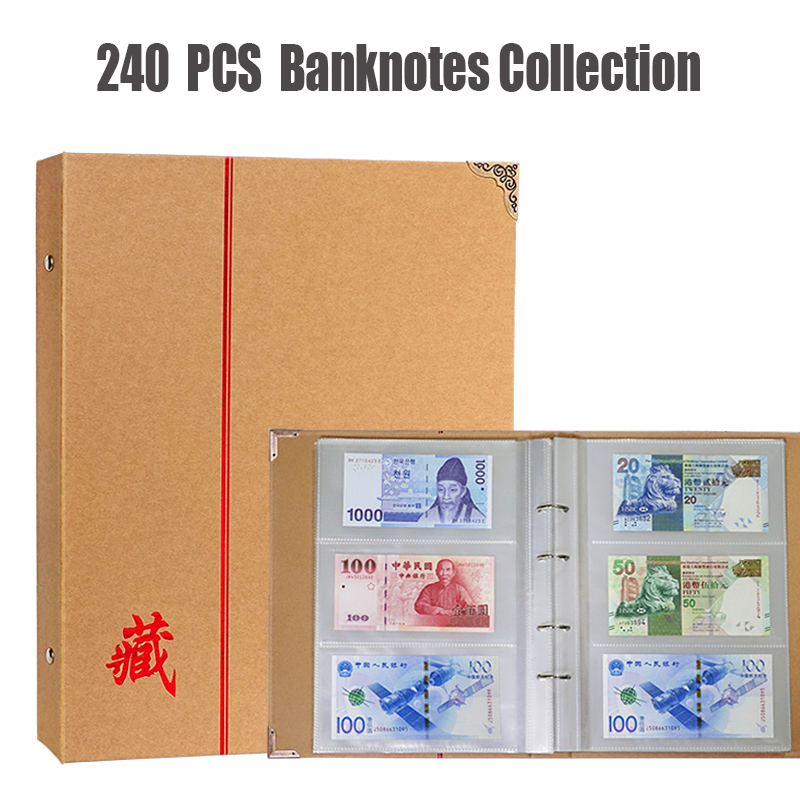 240 Holder Banknotes Collection Album 40 Sheets 80P Protection Kraft Cover Currency Paper Money Collecting Book