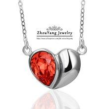 ZHOUYANG N367 Red Heart Ожерелье Серебряный Цвет Ювелирные Изделия Способа Никель Бесплатно Подвеска Австрия Кристалл
