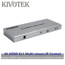 4K HDMI 8x1 interruptor adaptador multivisor 8xHdmi en 1 PANTALLA, conector hembra IR Control divisor transportador para CCTV HDTV