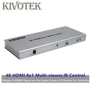 Image 1 - 4K HDMI 8x1 multi viewer commutateur adaptateur 8xhdmi sur 1 écran, connecteur femelle IR contrôle diviseur convètre pour CCTV HDTV