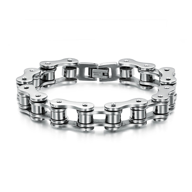 ZMZY Fashion Stainless Steel Jewelry Cool Men Biker Bicycle Motorcycle Chain Men's Bracelets & Bangles for Gift 3 color