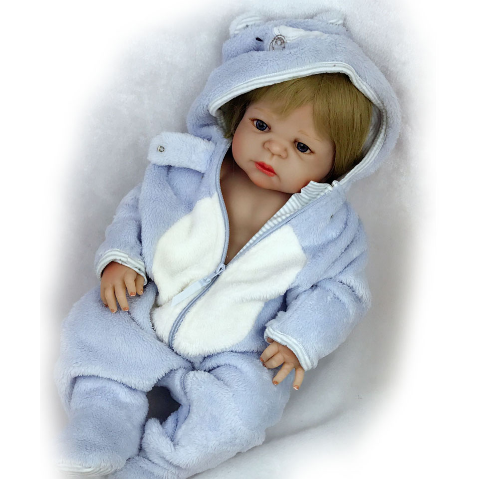 23'' Lifelike bebe Reborn Bonacas 57 cm Full Silicone Vinyl Reborn Babies Doll Toy Alive Boy Baby Doll For Kids Birthday Gifts keiumi 22 55 cm realistic baby alive boy doll soft silicone vinyl lifelike reborn doll toy for toddler birthday xmas gifts