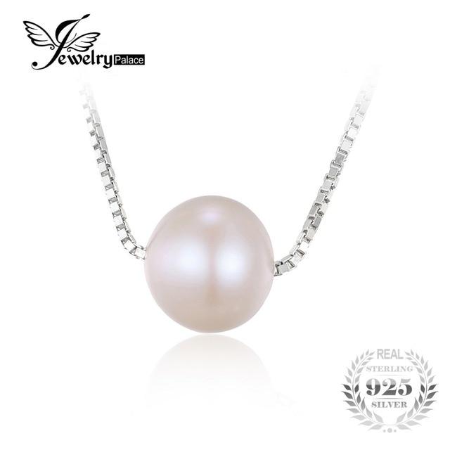 480b6fe3abdc Jewelrypalace moda caja redonda 8.5mm perlas cultivadas de agua dulce collar  de gargantilla cadena 925