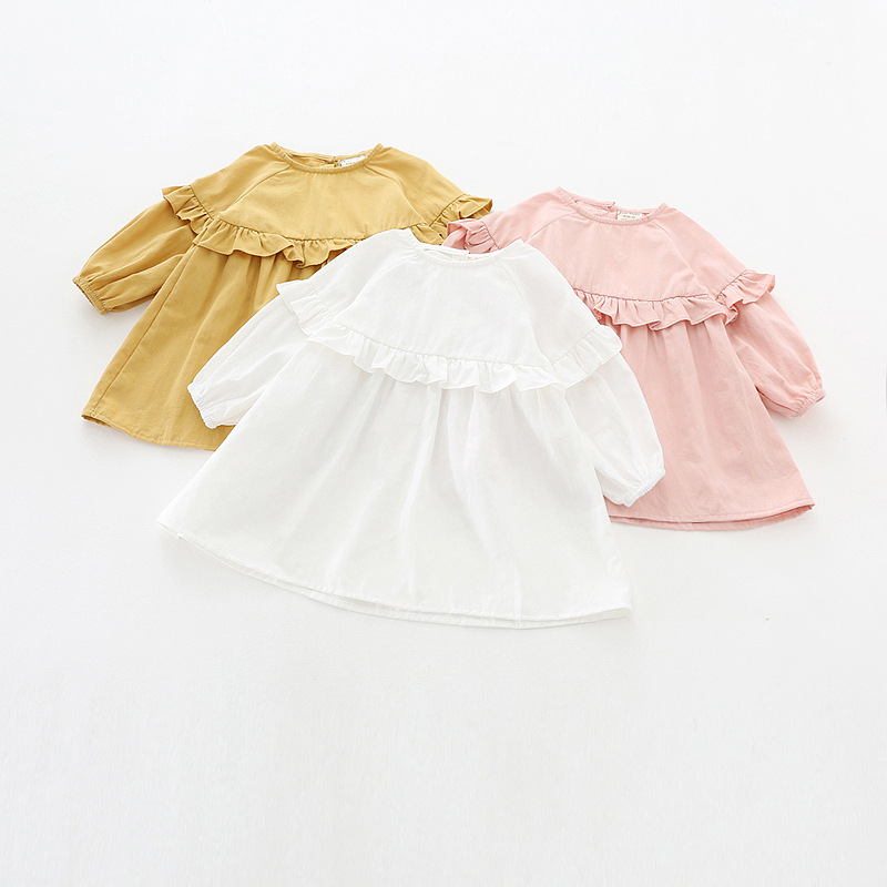 Kids Solid Colour Dress Ruffles Long Sleeve 100% Cotton Baby Girls Dresses Sweet Pink White Girl Casual Dress flounce ruffles long sleeve knitting dress