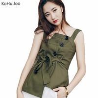KoHuiJoo Double Breasted Vrouwen Sexy T-shirt Solid Ontwerp Belted Slim Mode Sleevless Katoen Top Tees Lady Groen Wit