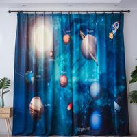 3D Planet Star Blackout Curtains For Kids Room Printed Curtains For Boys Bedroom Baby Room Window Drapes Blue Sheer Voile