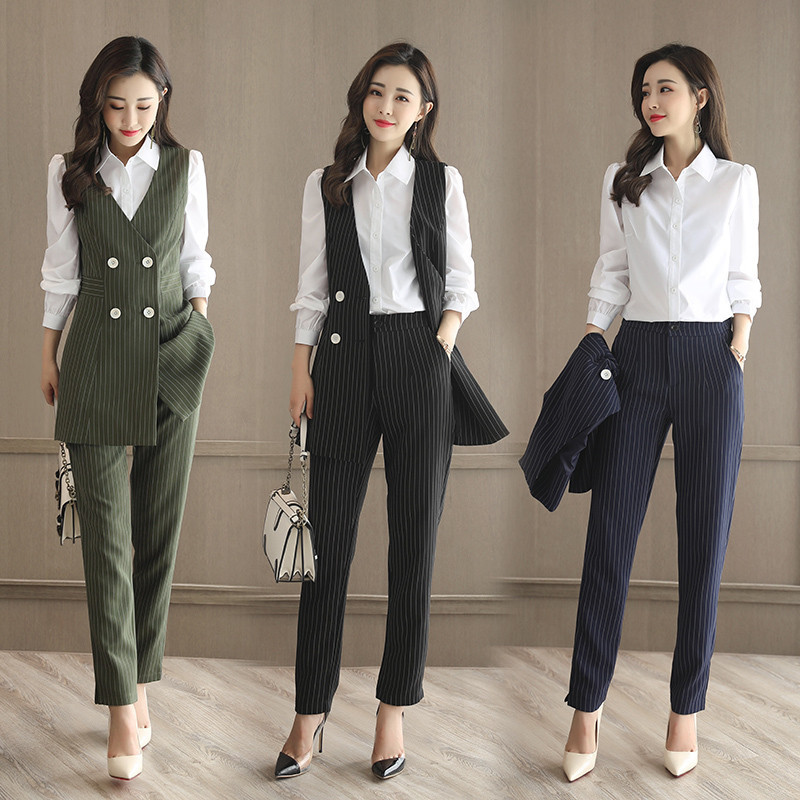Set Female 2018 Spring And Summer New Temperament White Shirt + Elegant Striped Vest +casual Pants Fashion Wild Three-piece Suit