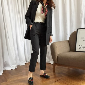 Women pant suits formal Spring and Autumn Fashion Casual Black Temperament Slim Office Business OL Professional Two-Piece Set original 2 pieces set dress 2017 new autumn slim fashion temperament black lace dresses women