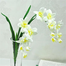 10pcs Artificial Freesia Flower Silk Cymbidium with Orchid Leaf Plant 14 Heads for Wedding Centerpieces Part Floral Arrangement(China)