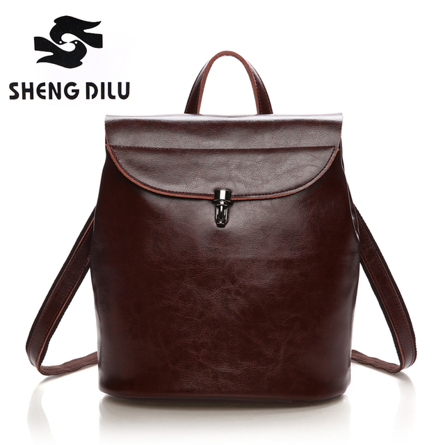 6bb507302e 2016 EUROPEAN WOMEN S GENUINE LEATHER BACKPACK ELEGANT REAL LEATHER DOUBLE  SHOULDER BAG TACTICAL CASUAL COWHIDE LEATHER BAG 3046