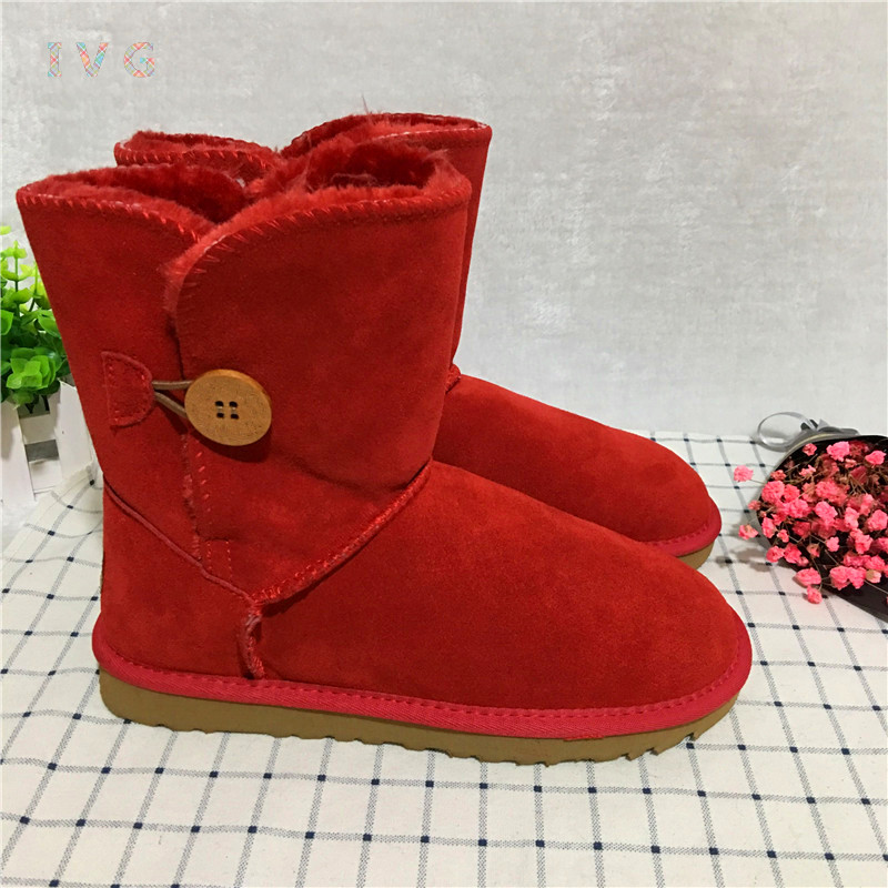 2017 Women's winter boots Australia Classic Bailey Button Big red Snow Boots Warm Leather ugs Boots Brand IVG large size 4-13 2017 women s winter boots australia classic mini camouflage pattern ugs snow boots warm leather ankle boots brand ivg size 4 13