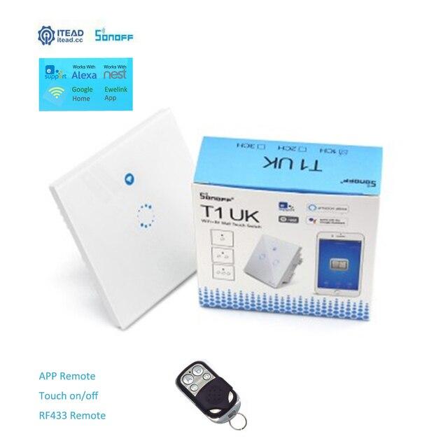 Sonoff T1 Smart WiFi RF/APP/Touch Control interruptor de pared 1 86 tipo Reino Unido del Panel de la pared interruptor de luz táctil Alexa Nest Ewelink