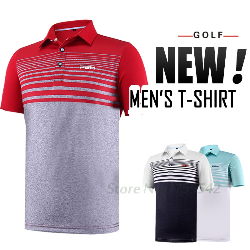 2017 Men Golf Shirt Golf Mens Clothing POLO Shirts Quick Drying 86% Polyester 14% Spandex Summer Golf Apparel