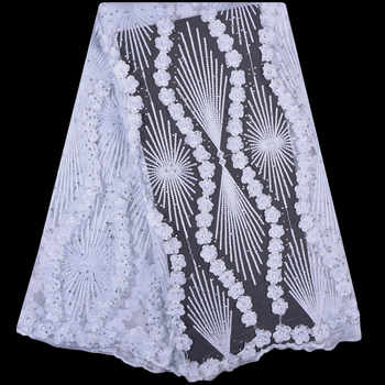 2018 French Lace Fabric White Wedding High Quality African Tulle Lace Fabric 5Yard 3D Flowers Embroidered Tulle Lace fabric A999 - DISCOUNT ITEM  34% OFF All Category