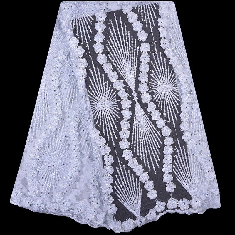 2018 francuski koronki tkaniny białe ślubne wysokiej jakości afryki koronki tkaniny 5 stoczni 3D kwiaty haftowany tiul koronka tkaniny A999 w Koronka od Dom i ogród na  Grupa 1