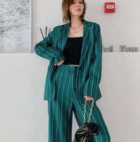 2019 New Slae Striped Green Suit And Pant Women wide Leg Pants With Blazer For Woman Stylish Autumn Slim Fashion Womens Sets