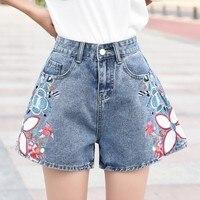Vintage Floral Embroidery Denim Shorts High Waist Jeans Short Femme Shorts For Women Summer A line Shorts