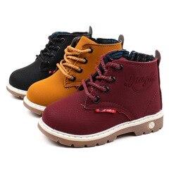 Venda quente crianças meninos martin botas outono inverno meninas moda botas de couro quente cavalheiro roma antiderrapante crianças botas para meninos