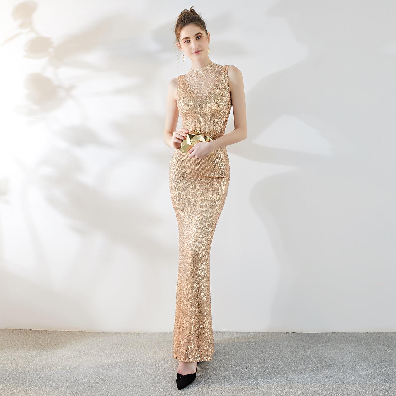 Belle longue élégante longue robe de soirée femme 2019 nouveau réfléchissant dames Banquet sirène jupe hôte réunion annuelle formelle