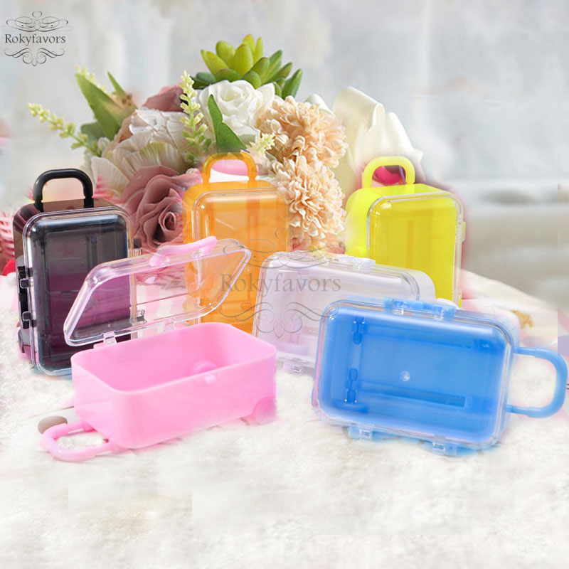 Party Favor Ideas For Wedding Reception: Mix Colors 200PCS Clear Mini Rolling Travel Suitcase Favor