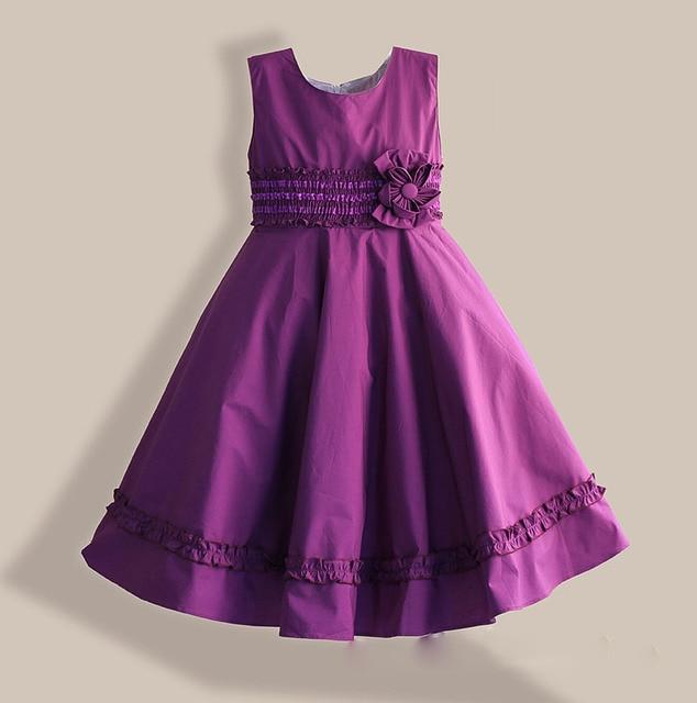 4e0ee9ec2 6-12Y فتاة اللباس القطن عارضة الأرجواني الاطفال الملابس الدانتيل زهرة أكمام  الأميرة اللباس لعيد