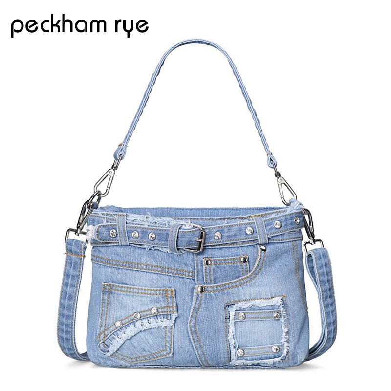 PECKHAMRYE women jeans bag Crystal Diamonds Vintage Fashion Denim Women Bags Jeans Shoulder Bag Girls Handbags Crossbody Bag fashion vintage applique belt girls jeans denim women bags lady s handbags crossbody purse shoulder bag carteira bolsa feminina