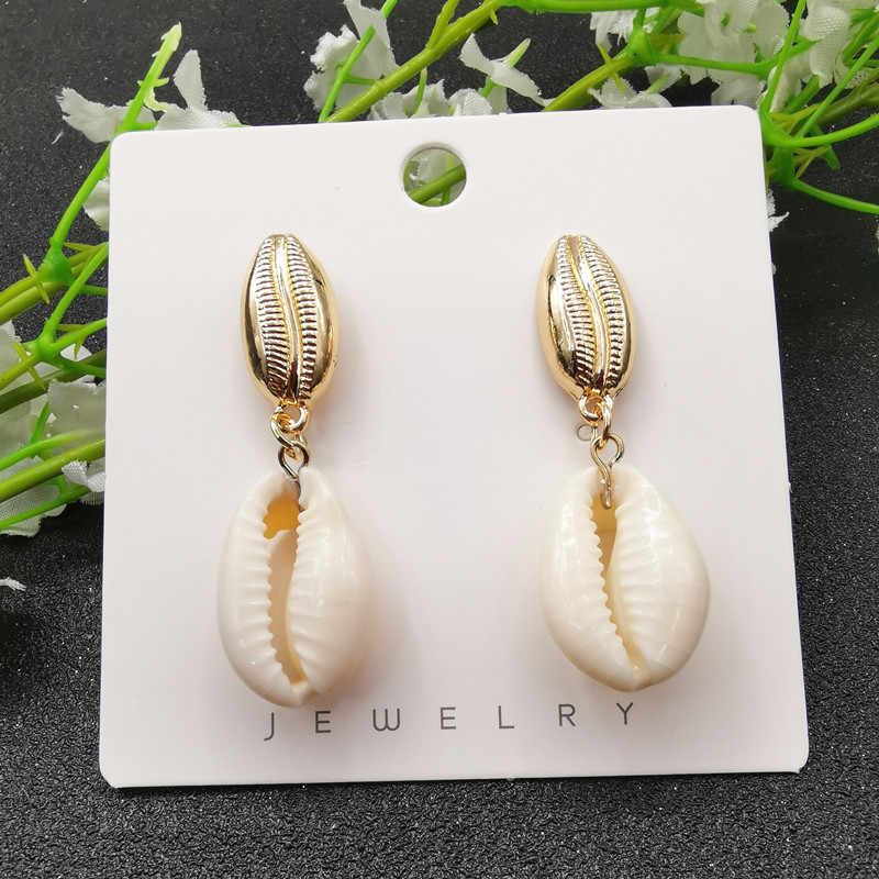 JCYMONG New 13 Model Sea Shell Earrings For Women Bohemain Ocean Natural Shell Cowrie Statement Earring 2019 Beach Jewelry Gift