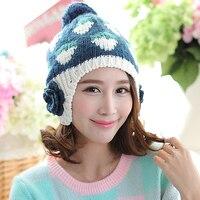Strawberry Pattern Large Flowers Women Winter Warm Ear Muff Hat With Hair Ball Autumn Handmade Braided