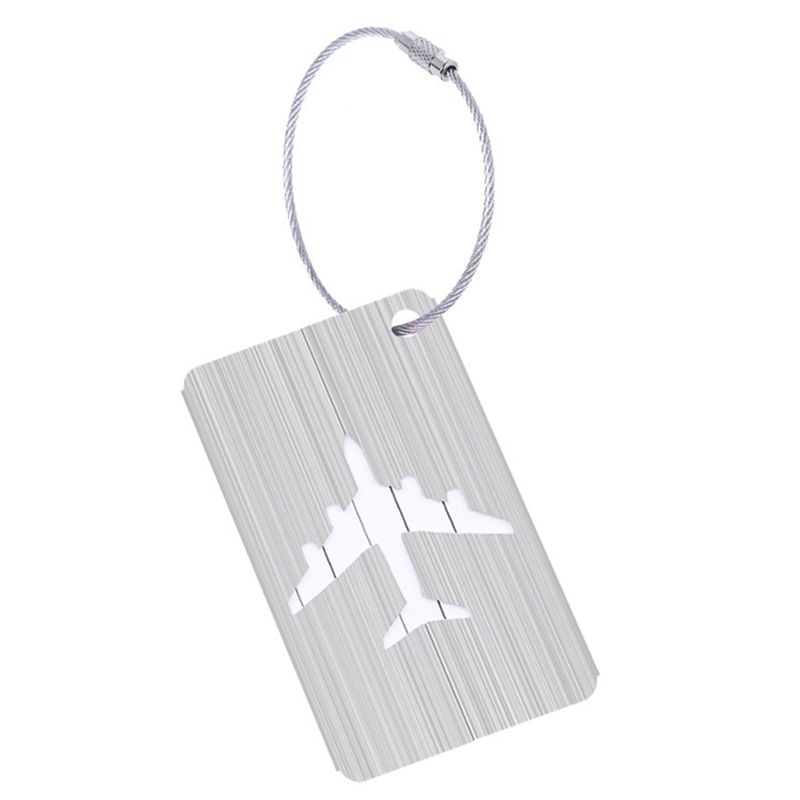 Fashion New Aluminium Travel Luggage Baggage Tag Suitcase Identity Address Name Labels(Silver)