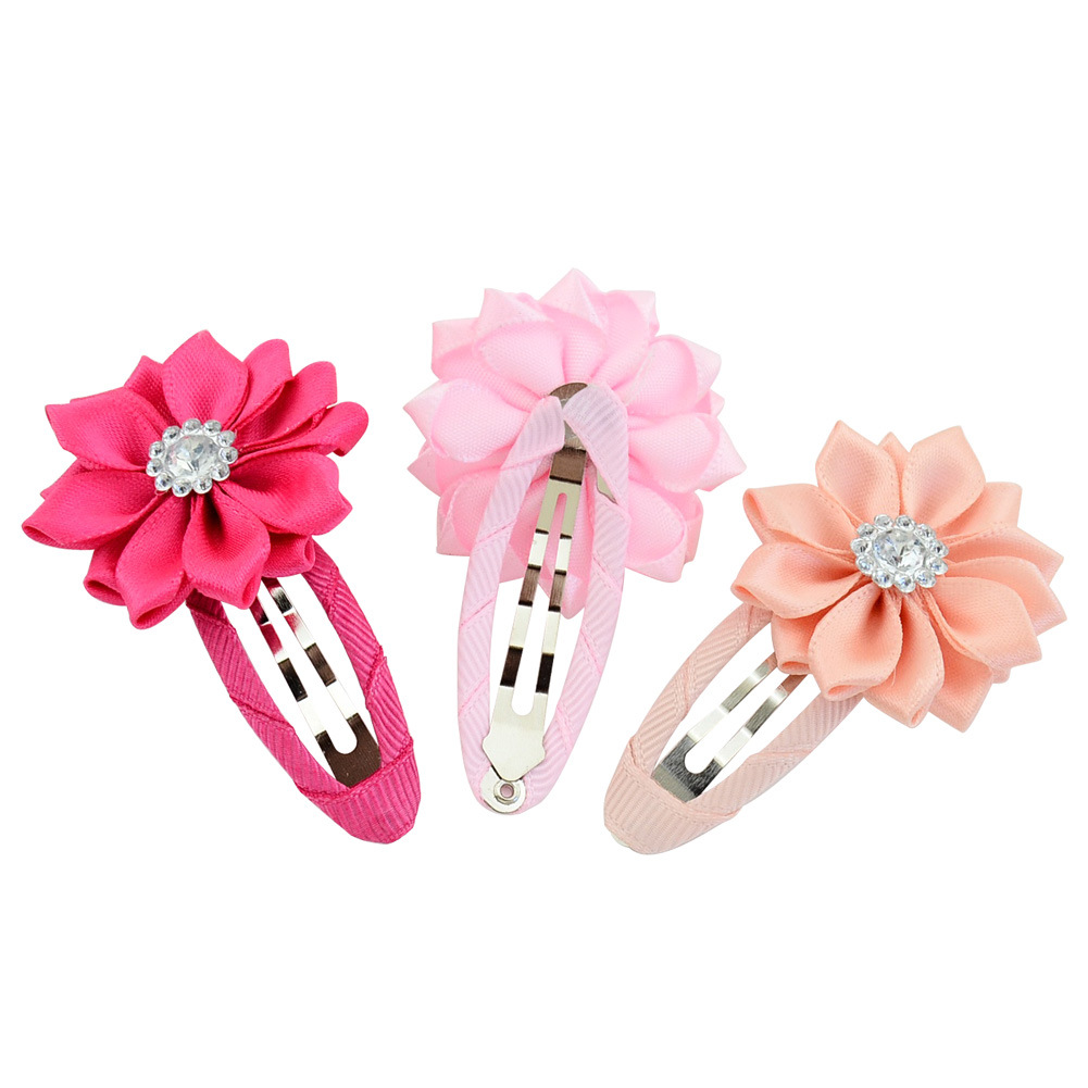 10pcs Satin Flower With Rhinestone Baby Girls BB clip Children Flowers Hairpin Small Hair clips Kids Hair accessories