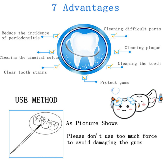 100pcs Double-headed Dental Brush Teeth Sticks Floss Pick Toothpick Tooth Clean Oral Care Interdental brush Food grade PP 6.3cm