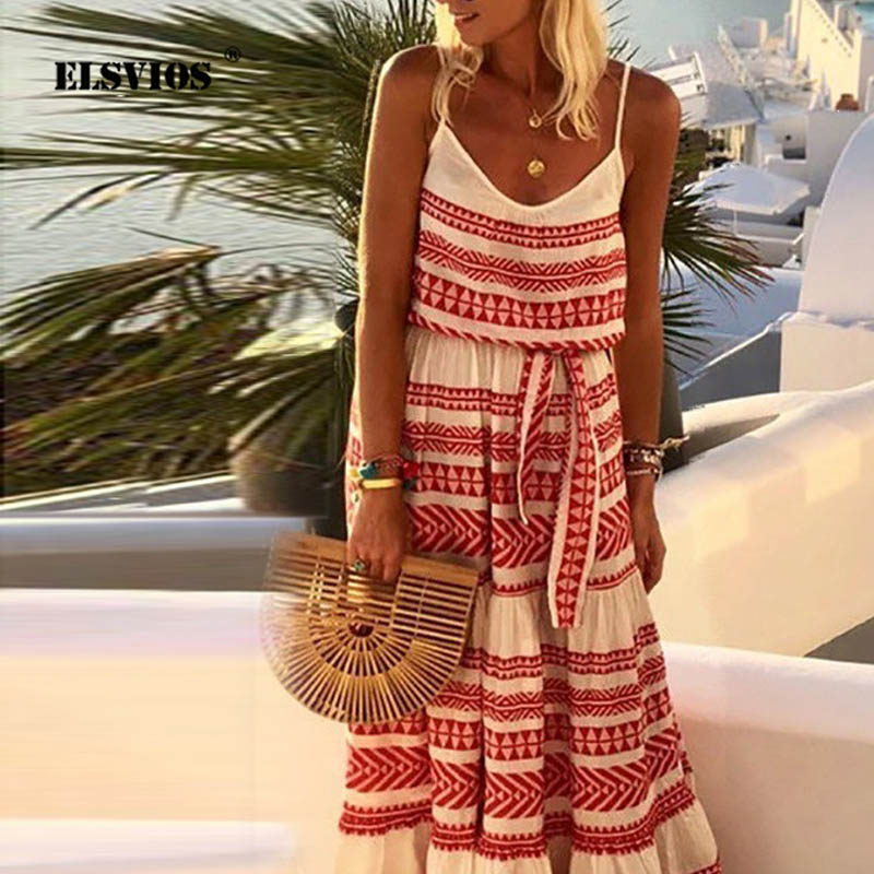 ELSVIOS Women Plus Size Striped Print Beach Dress Women Summer Backless Long Maxi Dresses Lady Belt Holidays Dress Vestidos 5XL(China)