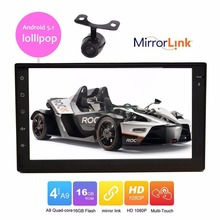 """7"""" inch Quad Core Android 5.1 GPS Navigation HD Display Car Double Din Radio Audio WIFI 4G Auto no DVD Multimedia Player+camera"""
