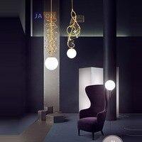 LED Pós moderna de Ferro Ouro Vidro Branco Lâmpada LED DIODO EMISSOR de Luz. luzes pingente. pingente Lamp. pingente luz Para Sala de Jantar|Luzes de pendentes| |  -