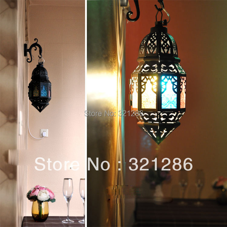 Morocco style wall light Morocco figured glass Balcony Wall Light White Hollow Iron light