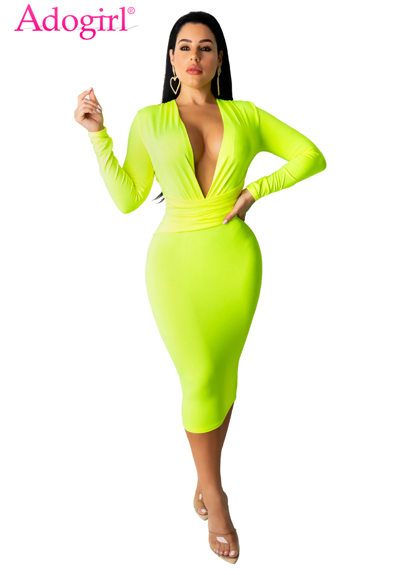 Adogirl Solid Women Sexy Bandage Dress Plunge V Neck Long Sleeve Bodycon Midi Night Club Party Dresses Office Lady Work Wear