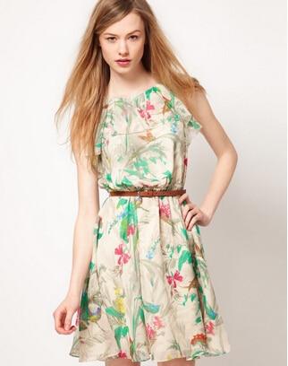 LZ 2014 new fashion summer dress young girl chiffon floral Flower birds print ruffled neck short XS S M L XL XXL - Girl's Fashion GuangZhou store