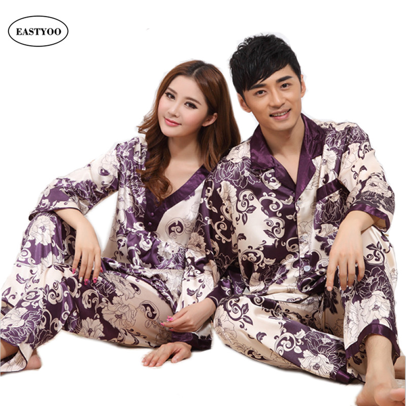 d72833a8c1 Silk Pajamas Couples Long Sleeve Pajamas Sets Flora Sleepwear 2 Piece Gown Chinese  Silk Pajamas Nightgown Set Wedding Pajamas