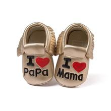 Baby Kids Casual PU Moccasins Prewalker I LOVE Mama Anti-Slip Walkers Girl Bowknots Shoes 0-18M First Walkers New Arrival(China)
